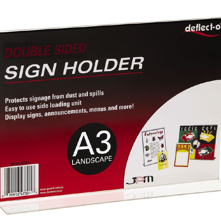 Deflecto Sign/Menu Holder Double-Sided Landscape Clear A3, , hi-res