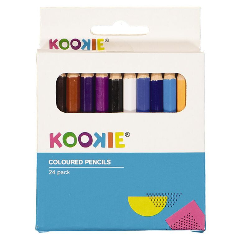 Kookie Coloured Pencils Half Size Multi-Coloured 24 Pack, , hi-res image number null
