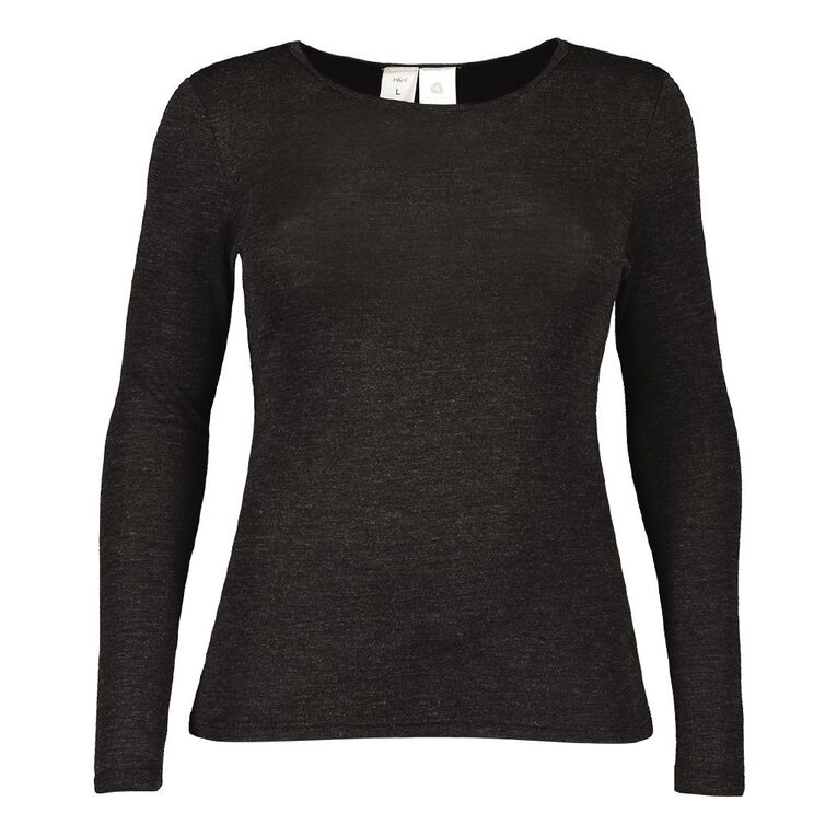 H&H Women's Merino Blend Crew Neck, Charcoal/Marle SOLID, hi-res image number null