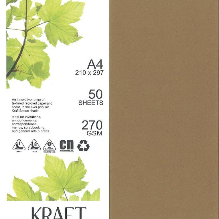 Direct Paper Enviro Board 270gsm 50 Pack Kraft Brown A4, , hi-res