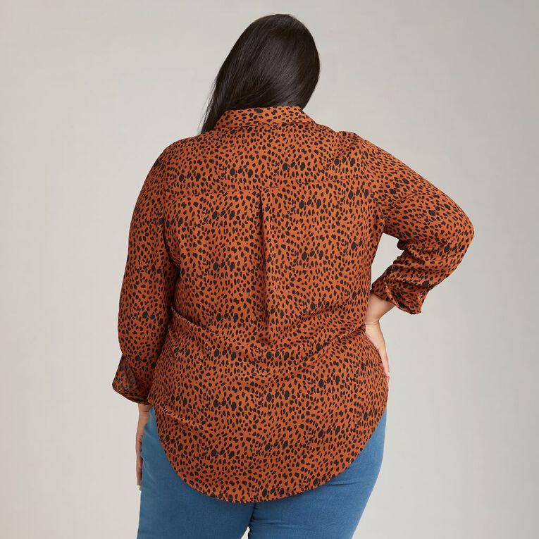 H&H Plus Women's Chiffon Shirt, Brown Mid, hi-res