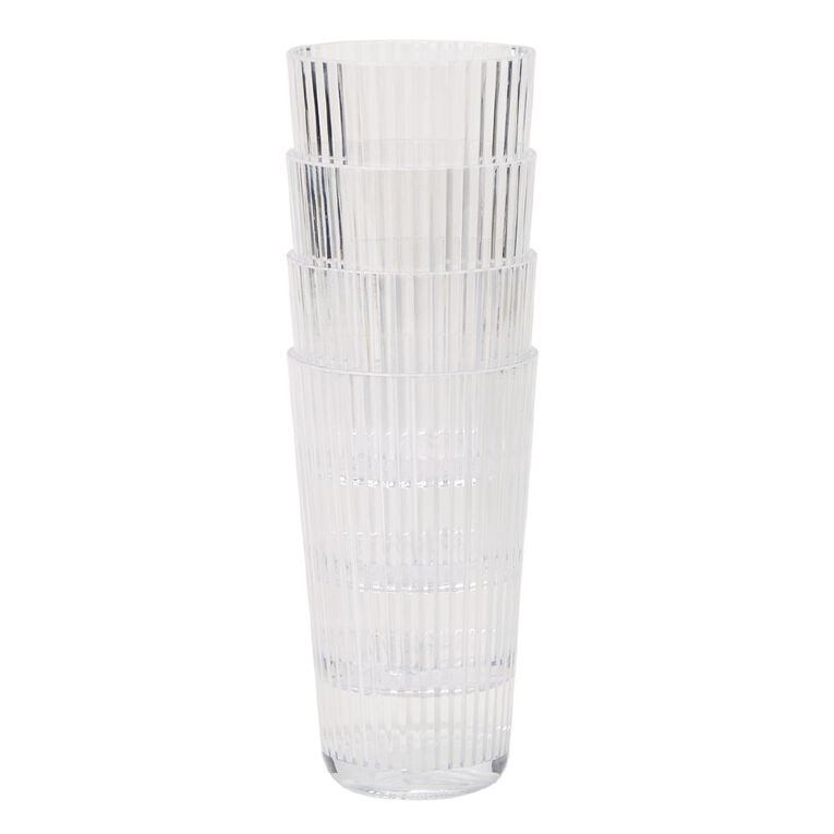 Living & Co Textured Acrylic Tumbler Clear 4 Pack, , hi-res