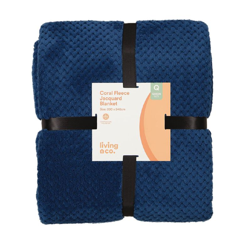 Living & Co Blanket Coral Fleece Jacquard Navy Queen, , hi-res