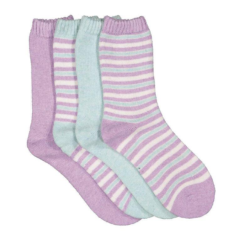 H&H Girls' Home Socks 4 Pack, Purple Light, hi-res