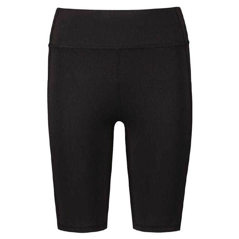 Active Intent Women's Long Length Pocket Bike Shorts, Black, hi-res