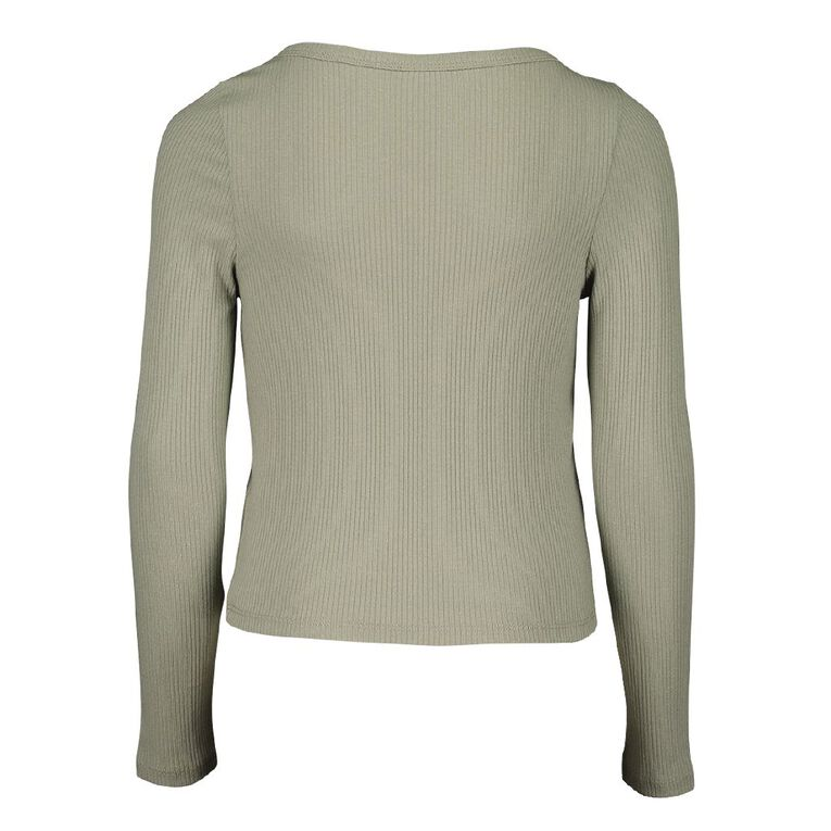 Young Original Long Sleeve Rib Henly Tee, Green Mid, hi-res image number null