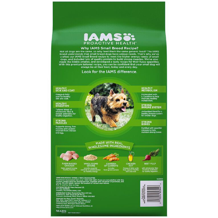 Iams Proactive Health Small & Toy Breed Adult Dry Dog Food 3.18kg Bag, , hi-res