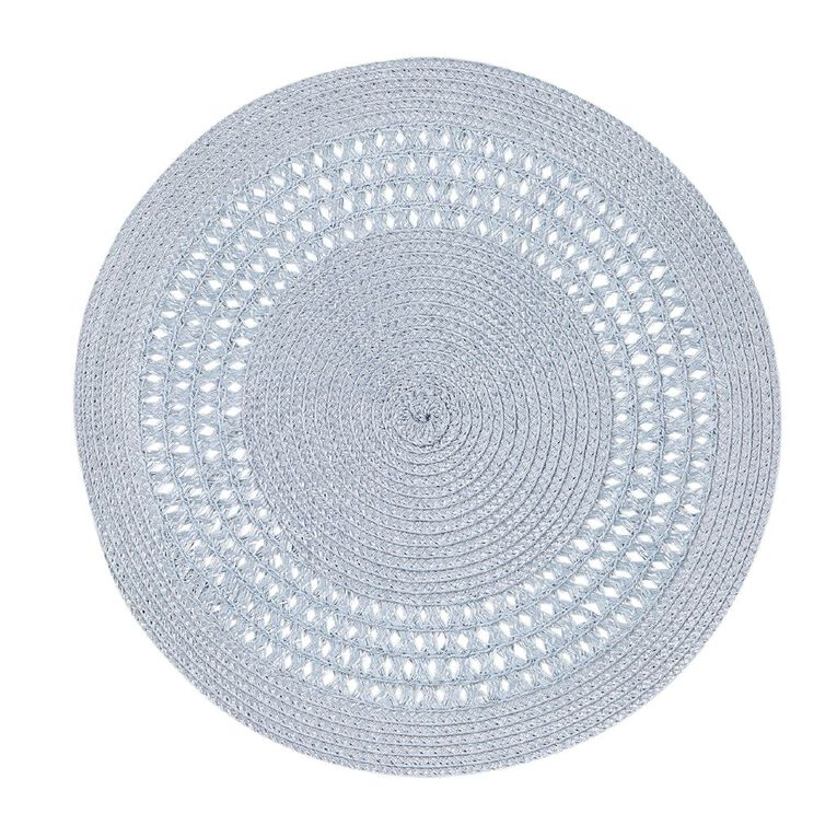 Living & Co Needle Out Woven Placemat Round 4 Piece Blue, , hi-res