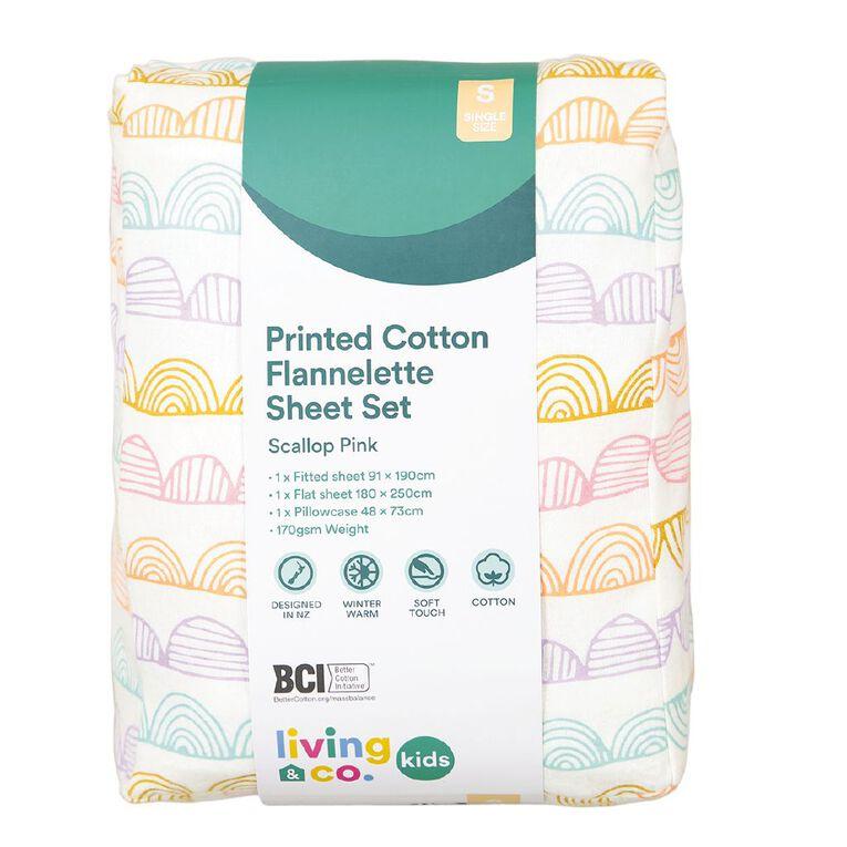 Living & Co Kids Sheet Set Cotton Flannelette Scallop Pink Single, Pink, hi-res