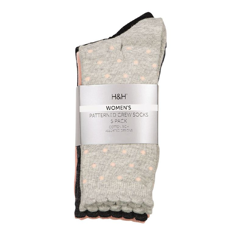 H&H Women's Crew Socks 5 Pack, Pink/Grey, hi-res image number null