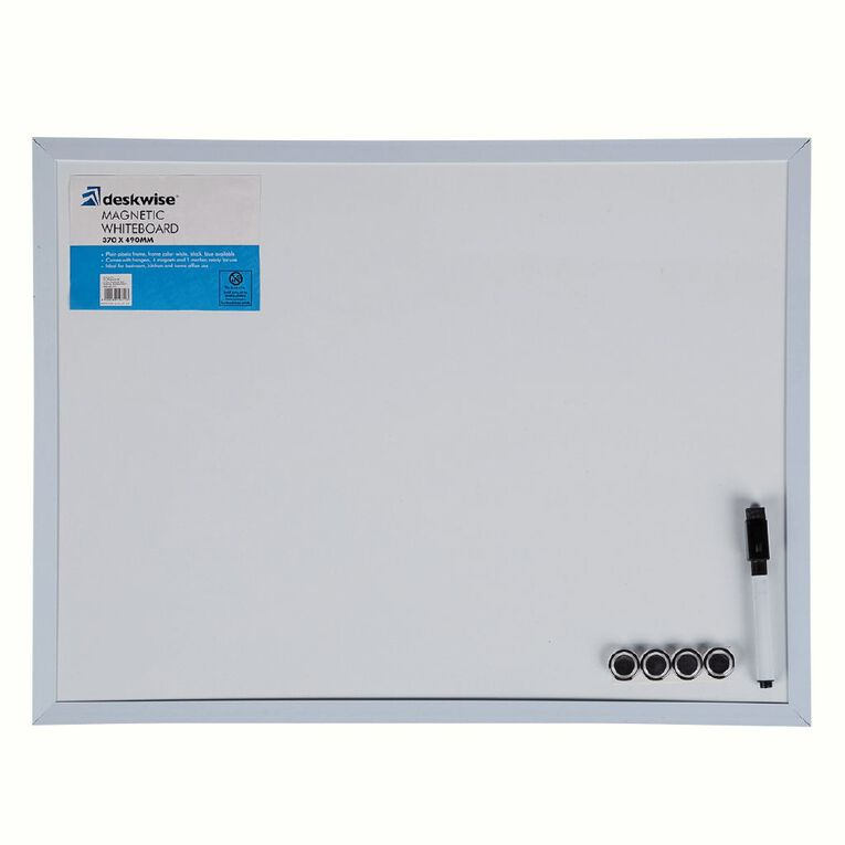 Deskwise Magnetic Whiteboard 370mm x 490mm Assorted, , hi-res