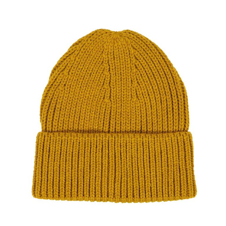 H&H Wide Turn Up Beanie, Yellow, hi-res