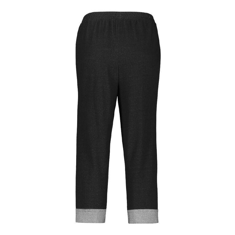 Pickaberry Knit Cuff Capris, Black, hi-res
