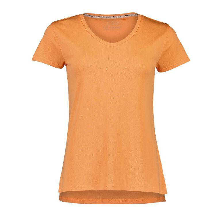 Active Intent Women's Cooldry Tee, Orange Mid, hi-res