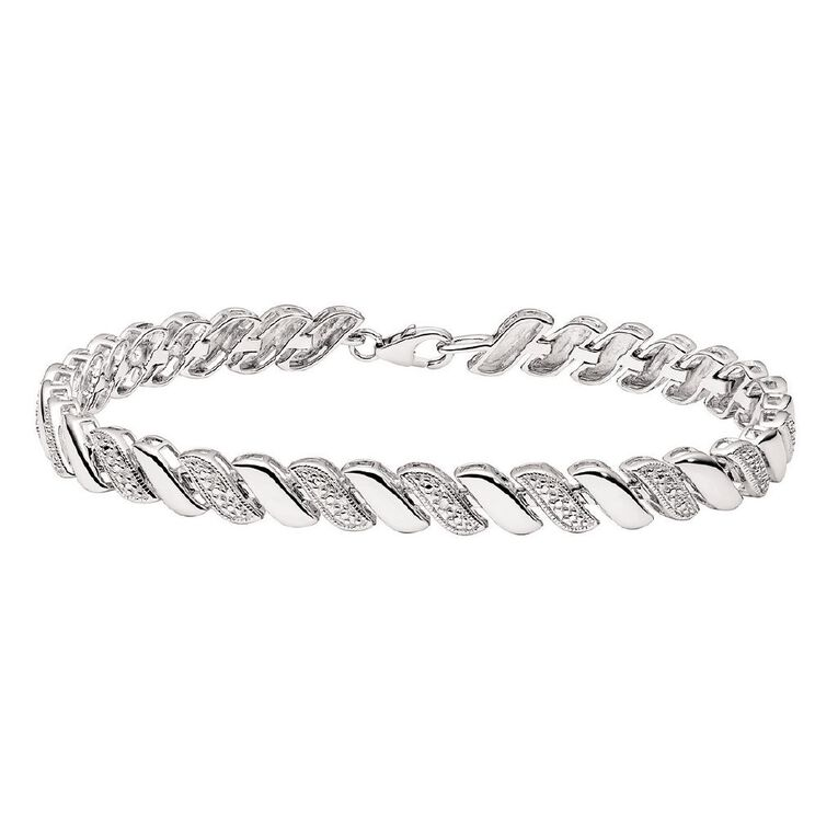 Sterling Silver Diamond Swirl Bracelet 19.5cm, , hi-res