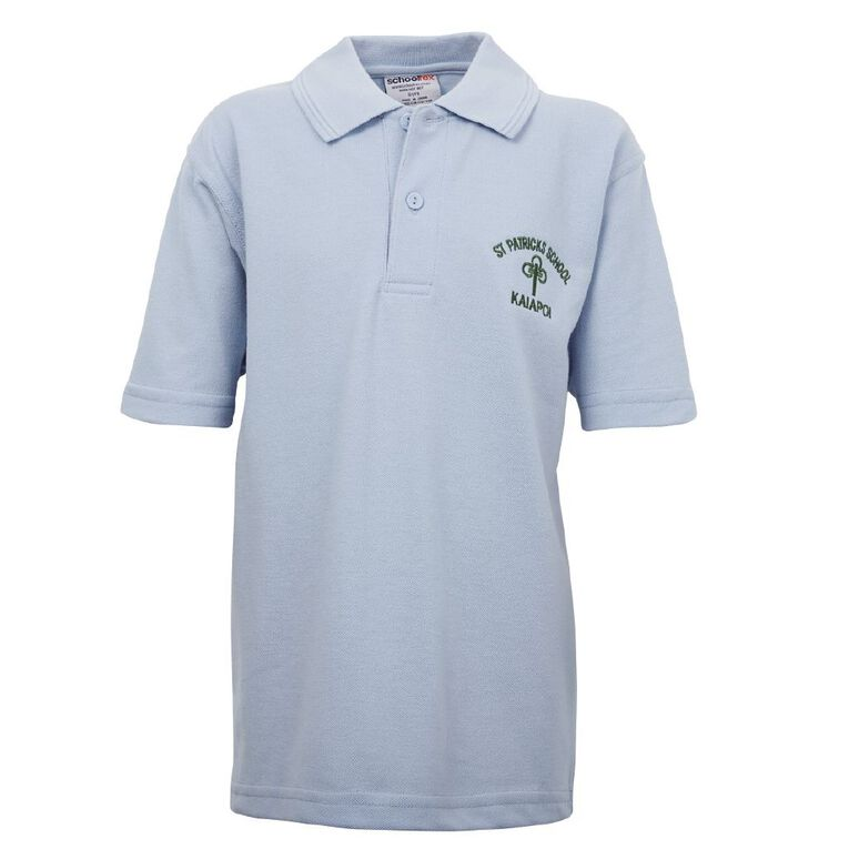 Schooltex St Patrick's Kaiapoi Short Sleeve Polo with Embroidery, Powder Blue, hi-res