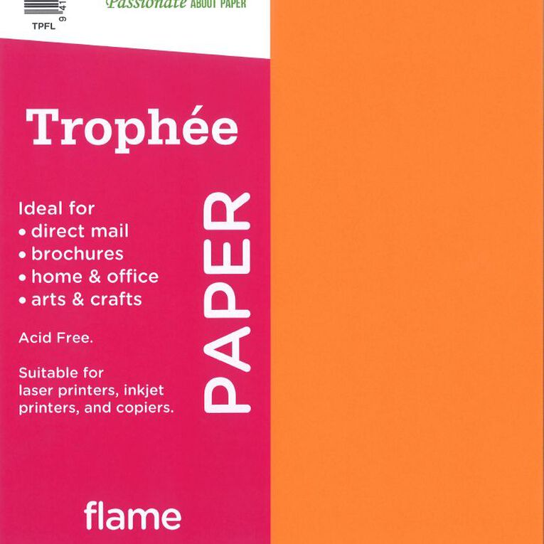 Trophee Paper 80gsm 30 Pack Flame Red A4, , hi-res