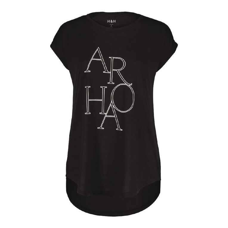 H&H Women's Print Crew Neck Tee, Black/White, hi-res