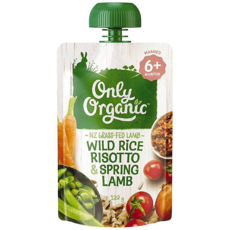 Only Organic Wild Rice Risotto & Spring Lamb Pouch 120g, , hi-res