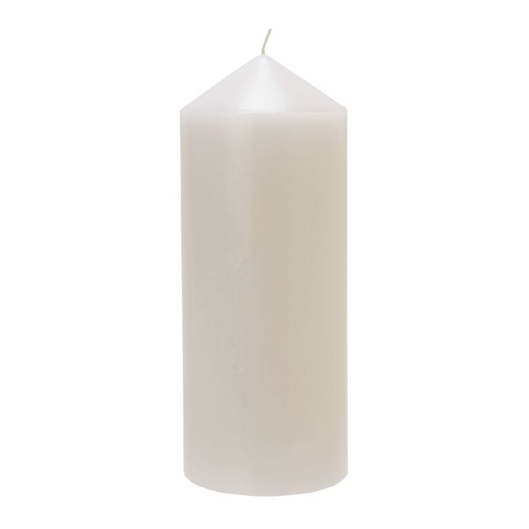 Living & Co Unscented Pillar Candle White 10cm x 25cm, , hi-res image number null