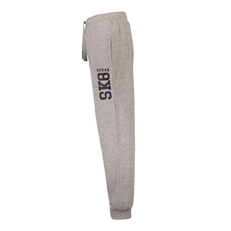 Young Original Print Leg Trackpants, Grey Marle, hi-res