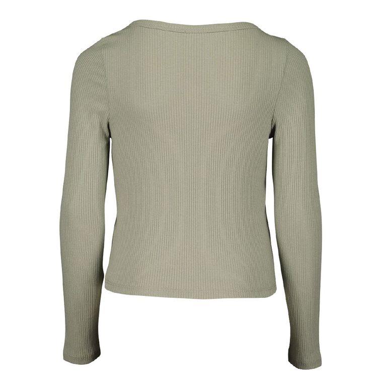 Young Original Long Sleeve Rib Henly Tee, Green Mid, hi-res