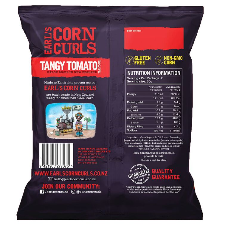 Earl's Earl's Corn Curls Tangy Tomato Flavour 70g, , hi-res