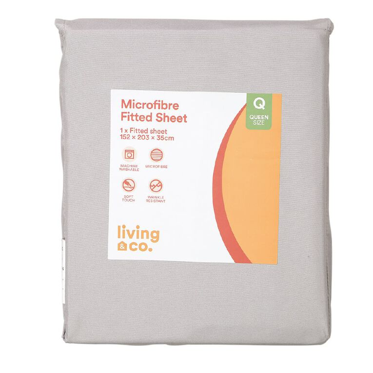 Living & Co Sheet Fitted Microfibre Grey King, Grey, hi-res