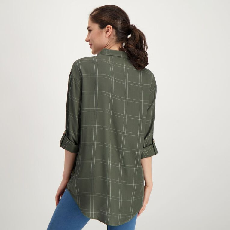 H&H Women's Long Sleeve Check Shirt, Green Dark, hi-res