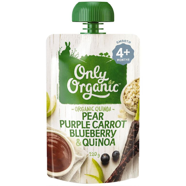 Only Organic Pear Purple Carrot Blueberry and Quinoa 120g, , hi-res