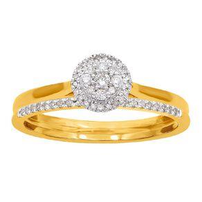 0.20 Carat Diamond 9ct Gold Round Halo Bridal Set Ring