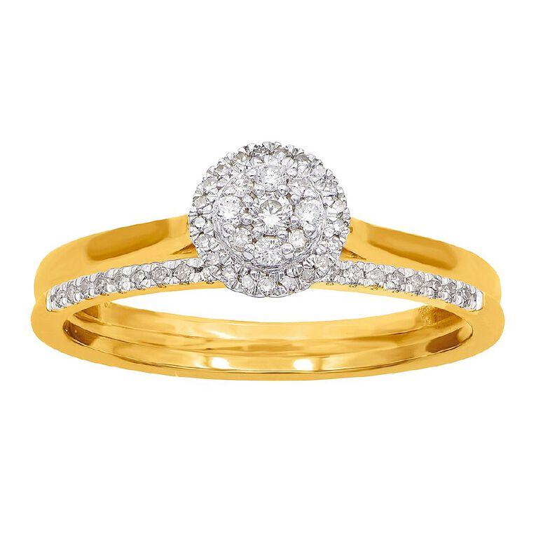 0.20 Carat Diamond 9ct Gold Round Halo Bridal Set Ring, Yellow Gold, hi-res