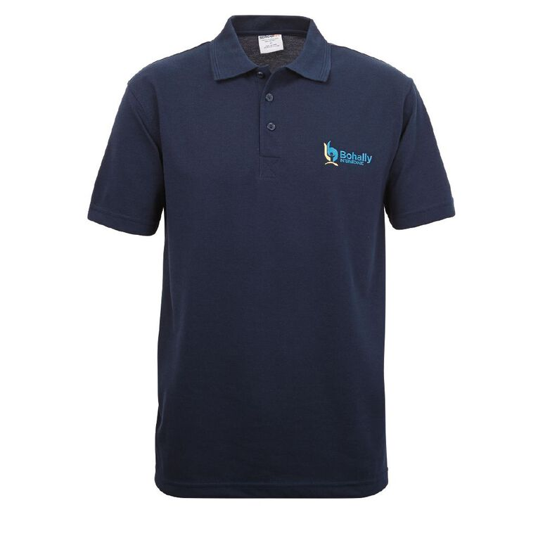 Schooltex Bohally Intermediate Short Sleeve Polo with Embroidery, Navy, hi-res