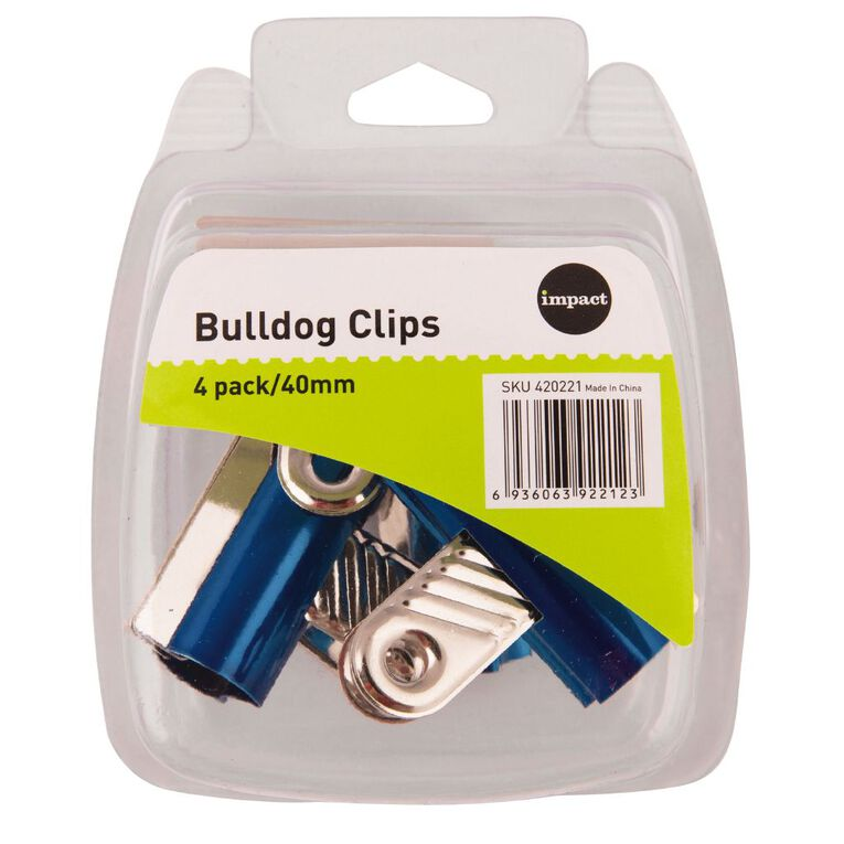 Impact Bulldog Clips 40mm 4 Pack Assorted, , hi-res