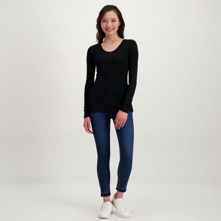 H&H Women's Merino Blend V Neck Top, Black, hi-res