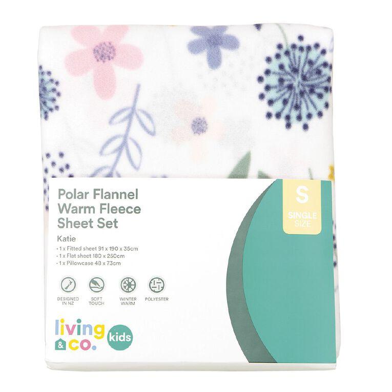 Living & Co Kids Sheet Set Polar Flannel Katie Pink Single, Pink, hi-res