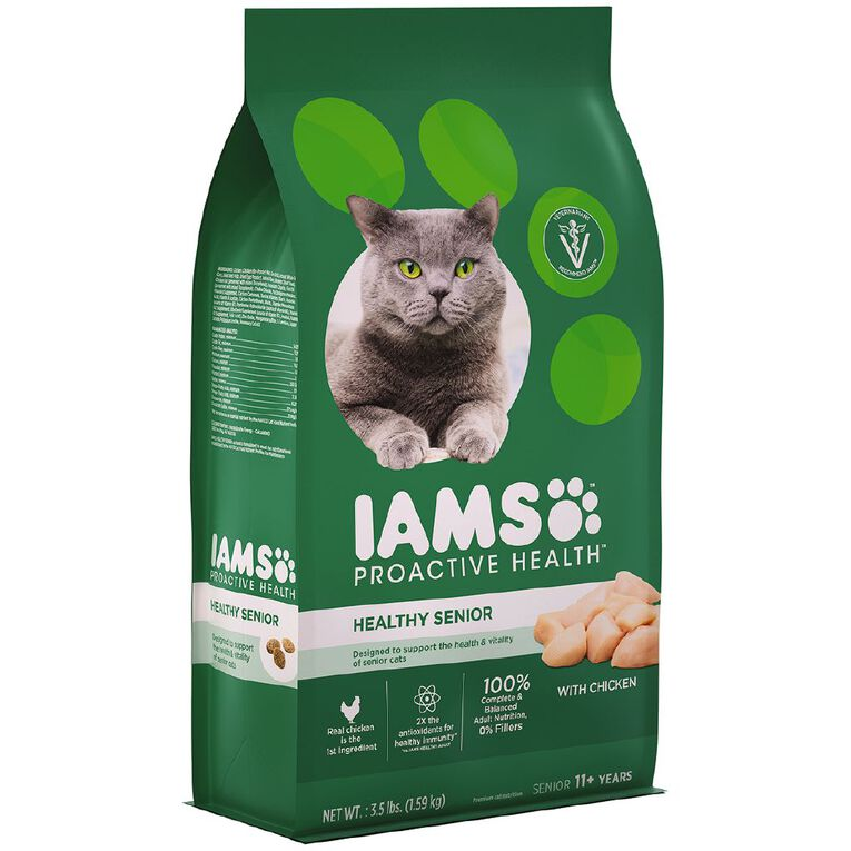 Iams Proactive Health Senior Dry Cat Food with Chicken 1.59kg Bag, , hi-res
