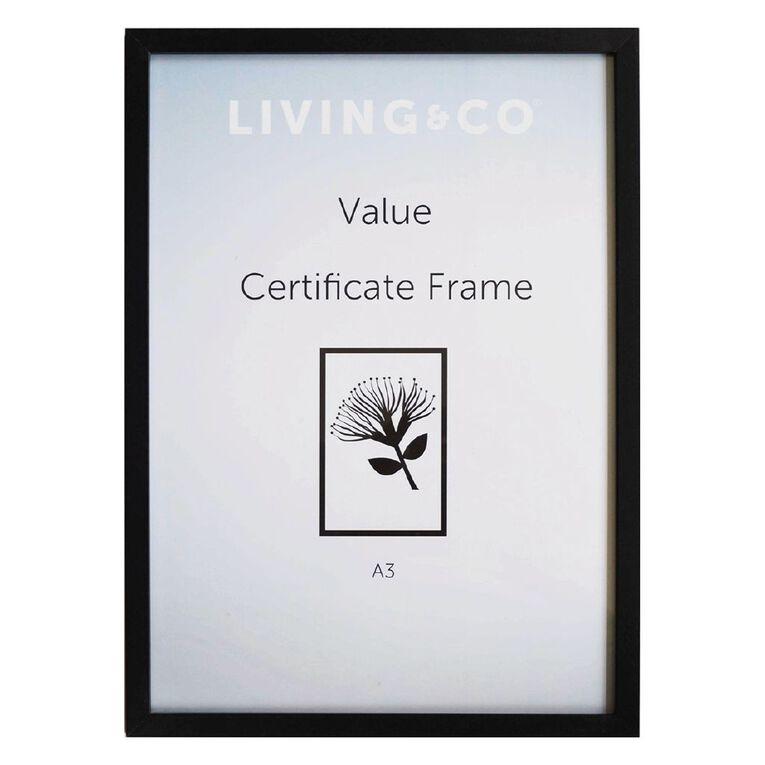Living & Co Value Certificate Frame Black A4, Black, hi-res
