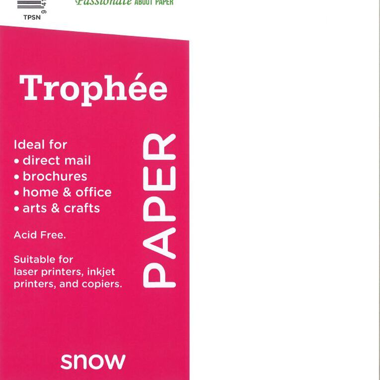 Trophee Paper 80gsm 30 Pack Snow White A4, , hi-res