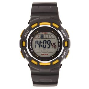 Active Intent Men's Sports Digital Watch Black Yellow