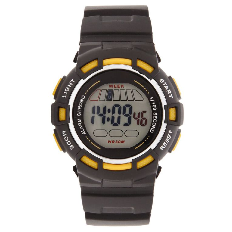 Active Intent Men's Sports Digital Watch Black Yellow, , hi-res