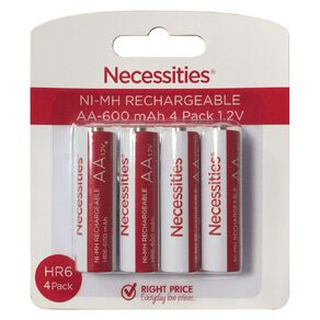Necessities Brand Rechargeable Ni-MH Battery AA HR6 4 Pack