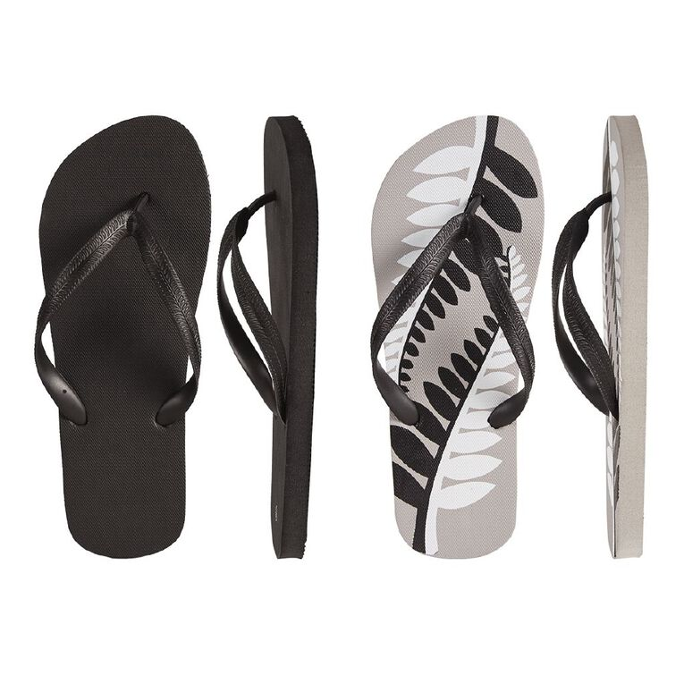 H&H Kiwi 2 Pack Jandals, Black/Grey, hi-res