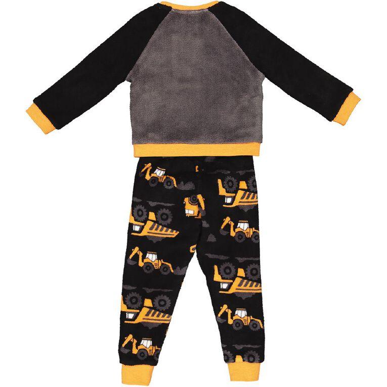 H&H Coral Fleece Truck Twosie Pyjamas, Black, hi-res