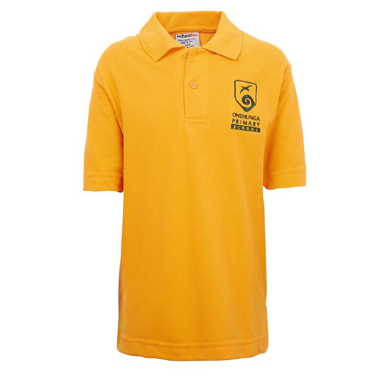 Schooltex Onehunga Primary School Short Sleeve Polo with Embroidery, Gold, hi-res
