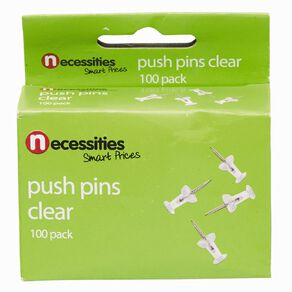 No Brand Push Pins Clear 100 Pack