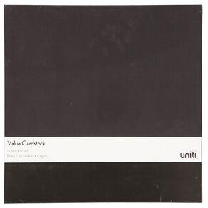 Uniti Value Cardstock 300gsm 10 Pack Black 12in x 12in
