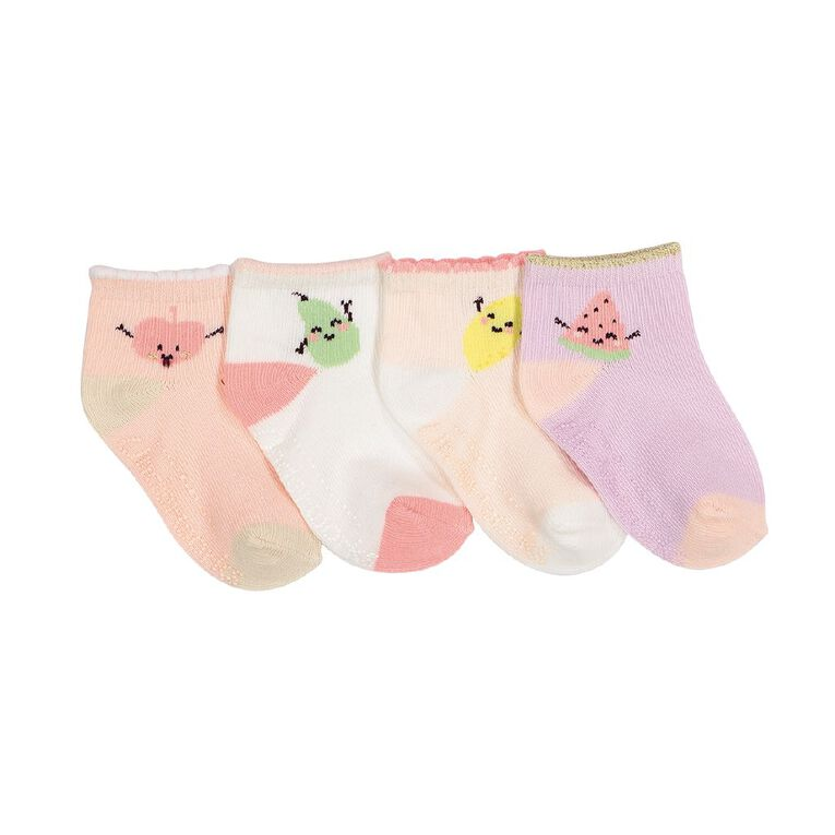 Underworks Infants' Patterned Mid Crew Socks 4 Pack, Pink, hi-res