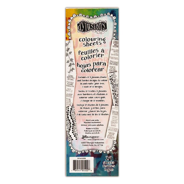 Ranger Dylusions Colouring Sheets Borders & Quotes, , hi-res