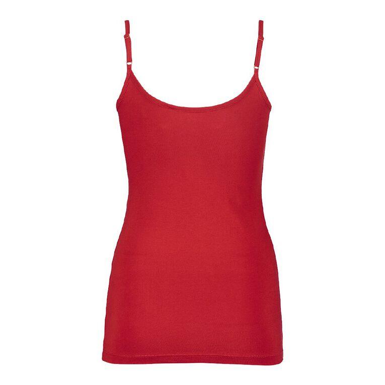 H&H Women's Light Under Singlet, Red, hi-res